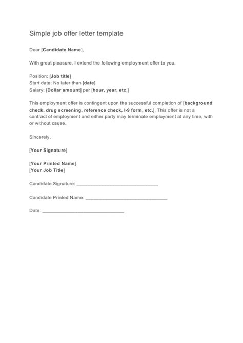 simple job offer letter template  printable