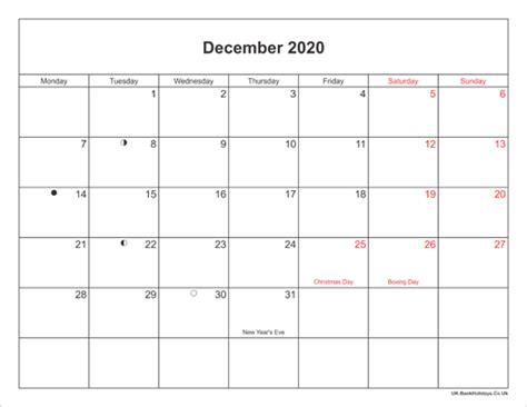 december  calendar printable  bank holidays uk