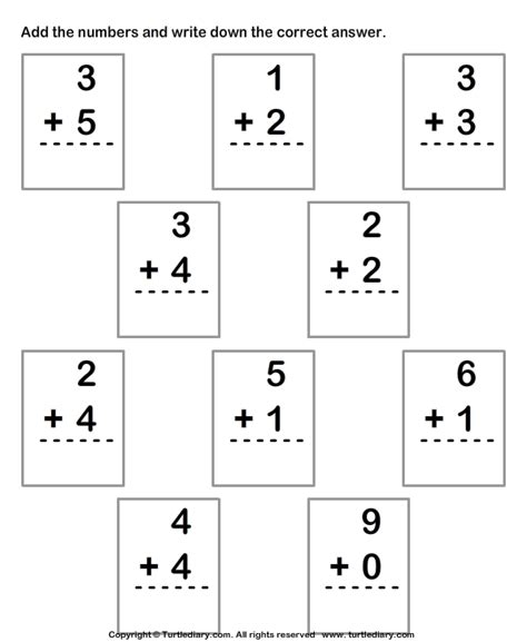 single digit vertical addition without regrouping column addition with numbers up to ten worksheet turtle