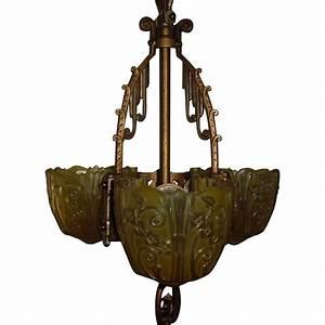Lincoln art deco light slip shade pendant from