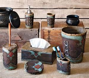 turquoise horseshoe and cross bath accessories With horseshoe bathroom decor