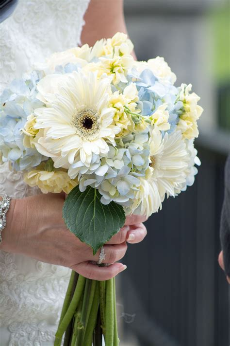 southern romantic bouquet of blue hydrangea white rose