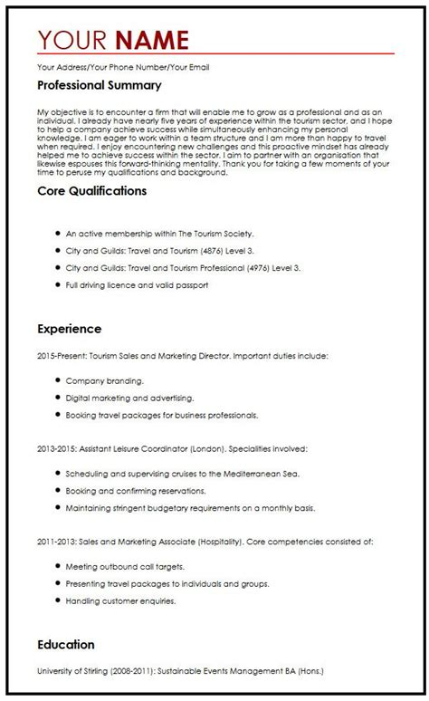 Tourism Resume Format by Cv Sle With Career Objectives Myperfectcv