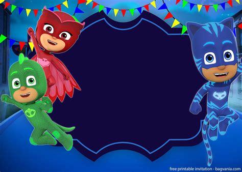 pj mask invitation template  invitation printing