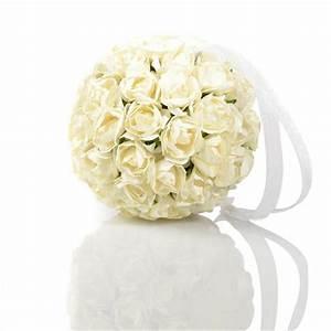 Boule De Rose : boule de roses artificielles 10cm blanc ~ Teatrodelosmanantiales.com Idées de Décoration
