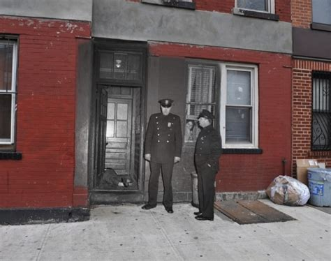 Graphic evidence was front and center. Vintage Crime Scene Photos Superimposed on Modern NY ...