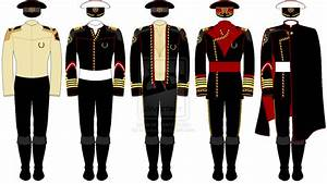 A line-drawing of a selection of officer's uniforms in the ...