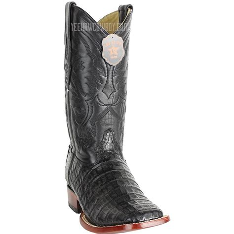 Black Caiman Belly Square Toe Boots Handmade Exotic Skin