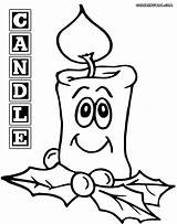 Candle Coloring Pages Christmas Print sketch template
