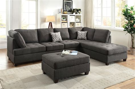Livingroom Sectional by Black Sectional Sofa Chaise Poundex F6988 Sectionals