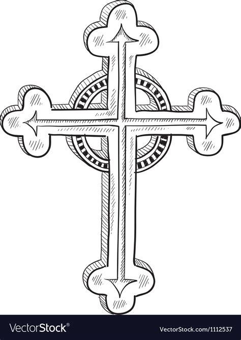 Doodle catholic cross Royalty Free Vector Image