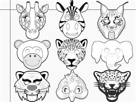 jungle animals printable coloring masks
