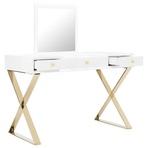 white desk with gold legs christa vanity table with mirror bedroom furniture