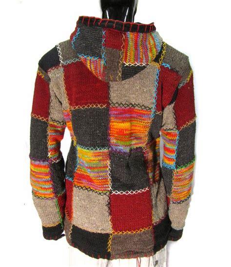 wool  fleece lined patchwork knit jacket hippy