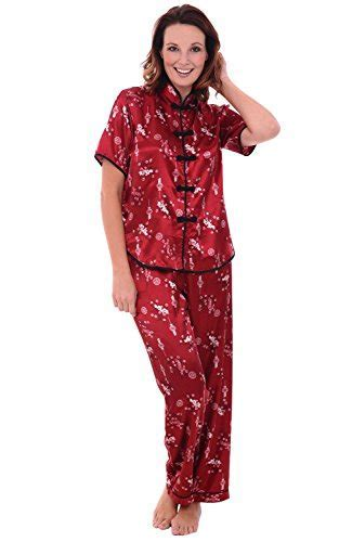 Alexander Del Rossa Womens Satin Pajamas, Chinese Inspired