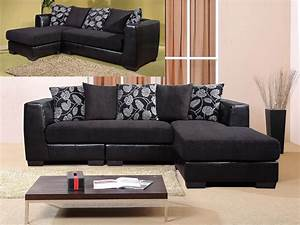 black 3 seater chaise sofa suite faux leather fabric With black fabric sectional sofa with chaise