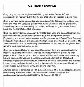 25 free obituary templates and samples free template With writing obituaries templates