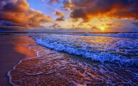 Beaches Sea Ocean Waves Sunset Sky Clouds Landscapes