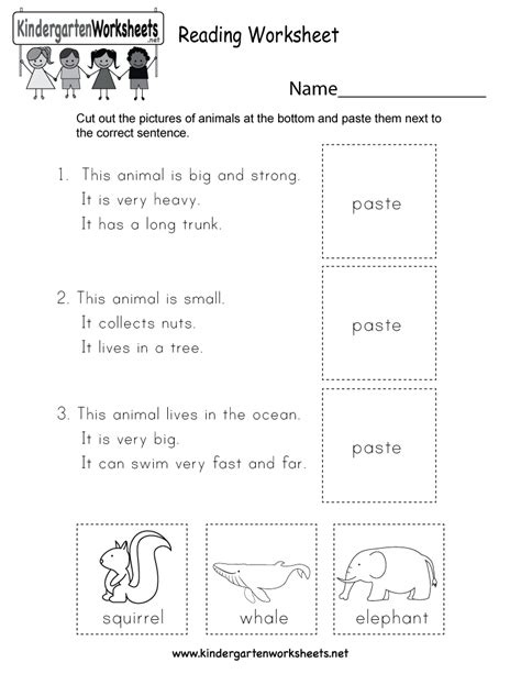 reading worksheet  kindergarten english worksheet