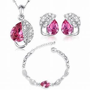 cadeau noel marenja cristal parure bijoux femme collier With parure bijoux femme
