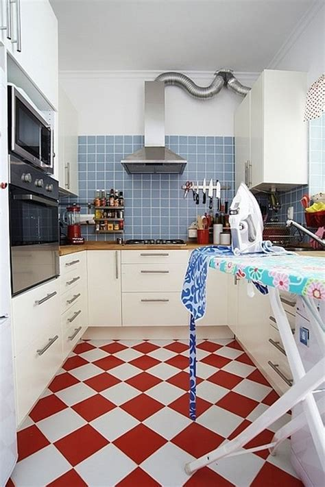Redandwhitekitchenfloortiles  Home Decorating Trends