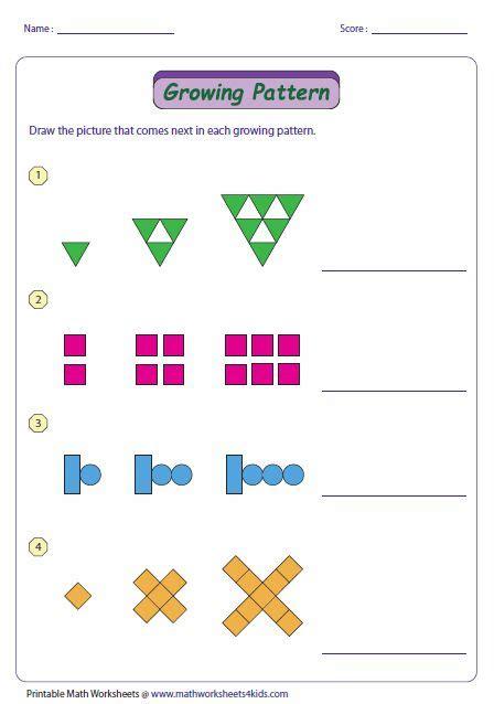 growing pattern type  pattern worksheet math patterns