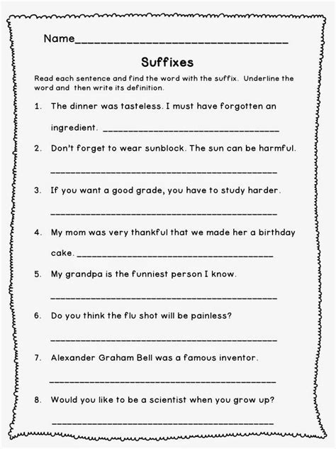prefix and suffix worksheets 4th grade worksheets for all