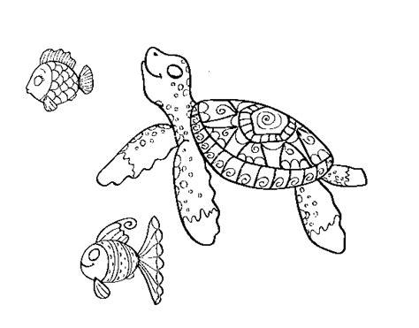 disegni da stare e colorare animali mare disegno di tartaruga di mare con pesce da colorare
