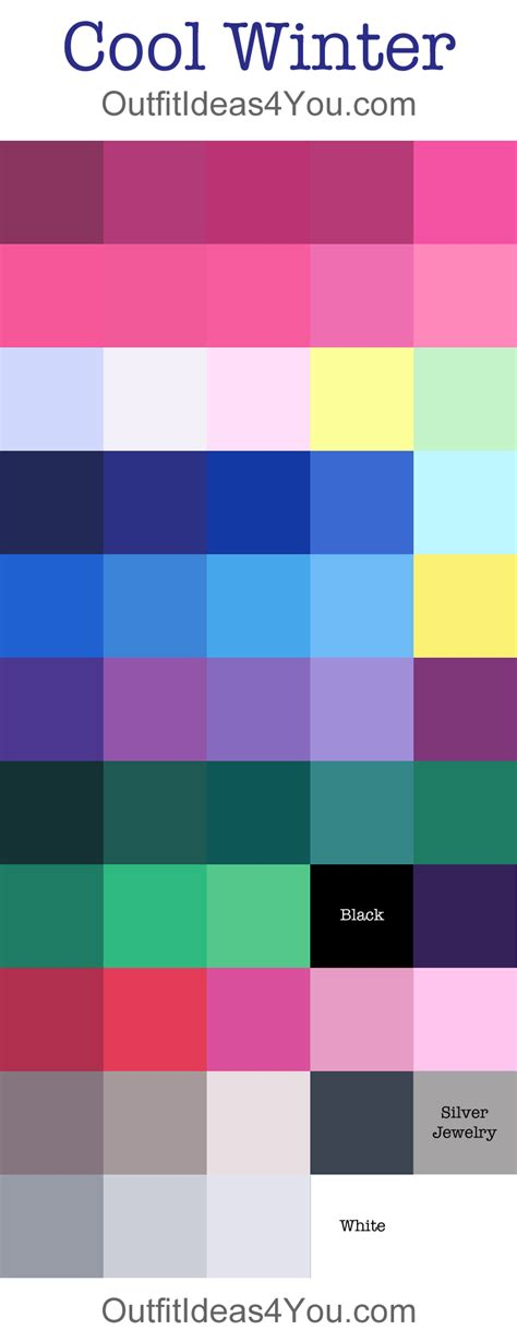 cool summer color palette cool winter seasonal color palette color analysis all