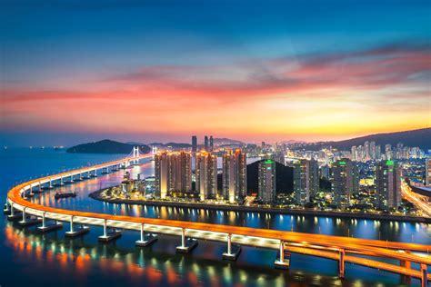 busan  wallpaper gwangan bridge city lights sunset harbor red sky metropolitan urban