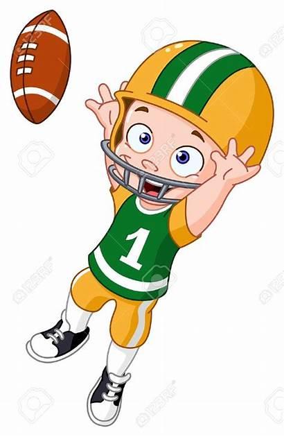 Football Cartoon Clipart Player American Playing Kid
