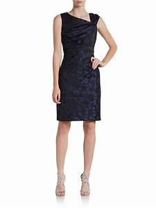 Vera Wang Asymmetrical Jacquard Cocktail Dress in Blue ...