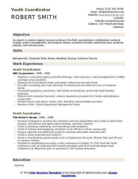 youth coordinator resume samples qwikresume