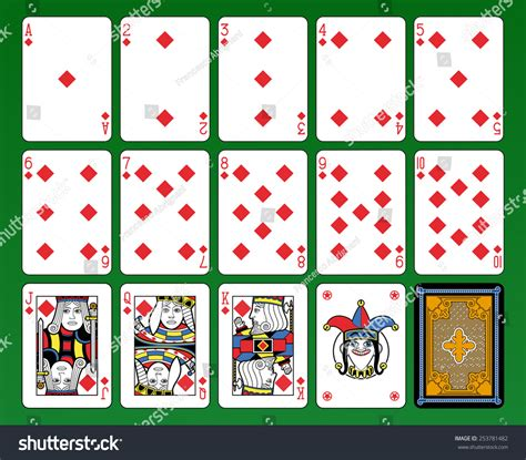 playing cards diamonds suite joker  stock illustration