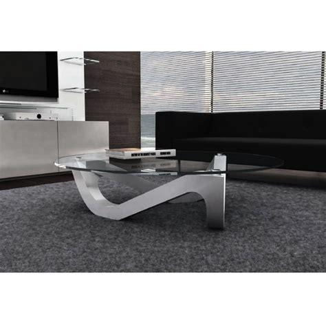 canape cuir luxe design table basse design ronde plateau en verre organic