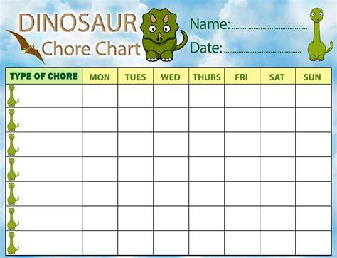 dinosaur chore chart rooftop post printables