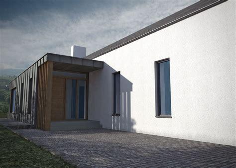 traditional white washed irish cottage  modern zinc clad twist modern bungalow house
