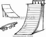Ramp Skate Vector Skateboard Park Elements Illustration Sketchy Skatepark Clip Shutterstock sketch template