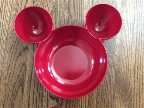 MICKEY MOUSE SERVING BOWL CHIP DIP RED PLASTIC LARGE EARS