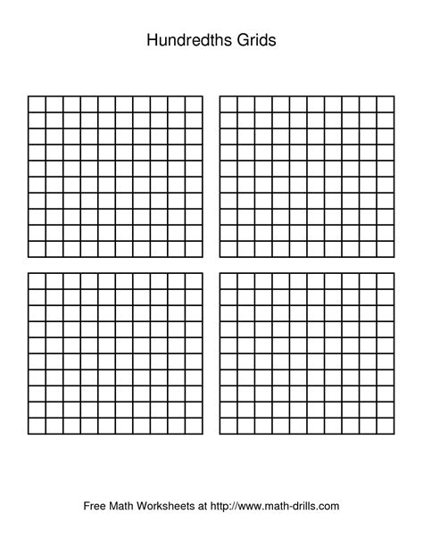 foto de 11 Best Images of Decimal Hundredths Grid Worksheets