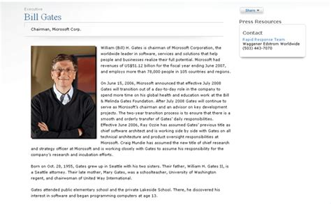 biography of bill gates resume bio page assignment web authoring fall 2011