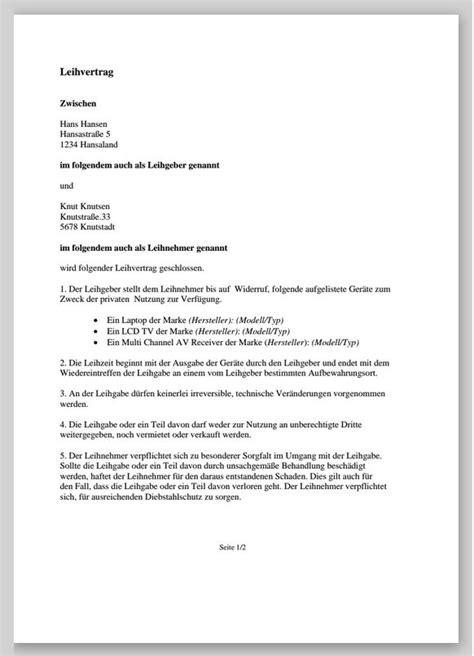 Leihvertrag geld pdf herunterladen