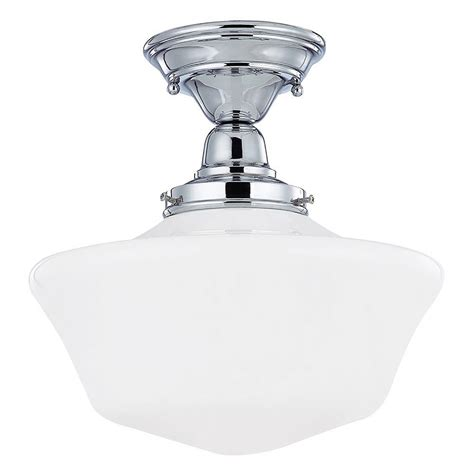 in ceiling light 12 inch retro style schoolhouse ceiling light in chrome