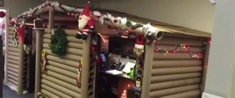 cubicle christmas decorations office cubicle gets transformed into cozy cabin that wins decorating contest abc news