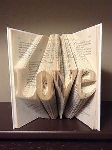 Folded book art letterslovebest selling itemgift for for Folded book art letters