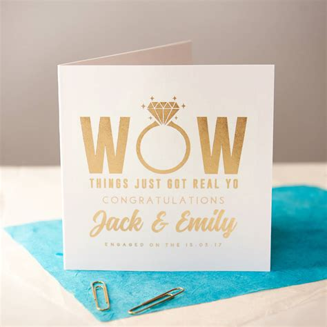 personalised gold foiled engagement card by oakdene