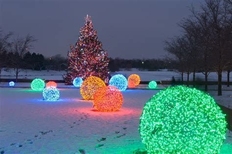 add colorful outdoor lighted christmas balls   yard