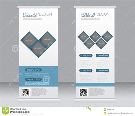 Roll Up Banner Stand Template. Abstract Background For