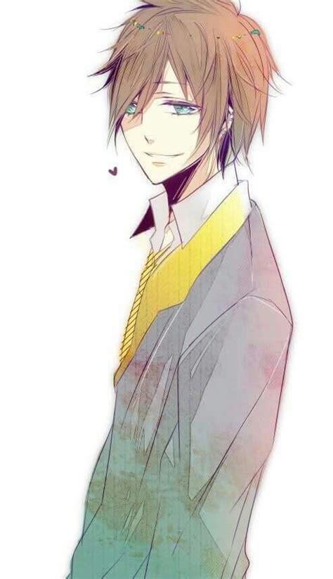 Kawaii Anime Pretty Boy Anime Boy With Brown Hair And Blue Kawaii
