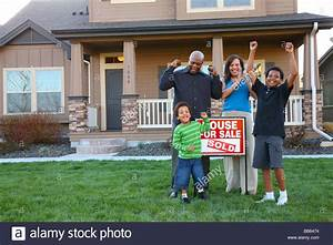 African American family celebrates new home purchase Stock ...